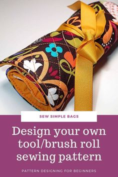 FREE sewing pattern and video tutorial for how to sew a brush roll. This handy tool caddy to sew is ideal to sew and use as a case to store crochet hooks, sewing supplies, craft supplies, pens, pencils, crayons, artist brushes, cosmetic brushes and lots more. The video tutorial shows you how to design your own custom sewing pattern so your tool caddy or brush roll sewing pattern with be perfect for you. Animal Sewing Patterns, Easy Sewing Patterns, Bag Patterns To Sew, Sewing Hacks, Sewing Tutorials, Sewing Projects, Sewing For Kids, Baby Sewing, Free Sewing