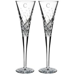 Waterford Happy Celebrations Set Of 2 Monogram Lead Crystal Champagne... ($145) ❤ liked on Polyvore featuring home, kitchen & dining, drinkware, clear, engraved champagne flutes, twin pack, fluted champagne glasses, waterford flutes and monogrammed champagne flutes