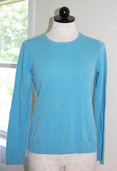 LL BEAN 100% Cashmere Woman's Light Blue Crewneck Sweater S #LLBEAN #Crewneck