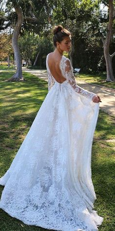 modern wedding dresses with long sleeves low back full lace boho monique lhuillier robe dresses dresses beach dresses boho dresses lace dresses princess dresses vintage Disney Wedding Dress, Lacy Wedding Dresses, Wedding Dress Low Back, Classic Wedding Dress, Princess Wedding Dresses, Wedding Dress Sleeves, Designer Wedding Dresses, Bridal Dresses, Wedding Gowns