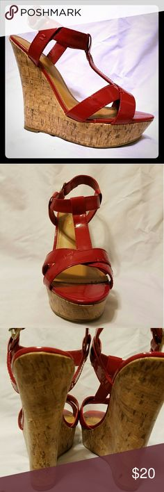 """Red Wedges Red patent wedge sandals.  5"""" + 1""""platform.  Adorable, and breaks my heart to let them go,  but I just can't walk in them anymore.  They are reasonably comfy (they are high heeled after all). Slight scuff on back of left shoe.  I'm sure they will love you for welcoming them into your closet  :) JustFab Shoes Sandals"""