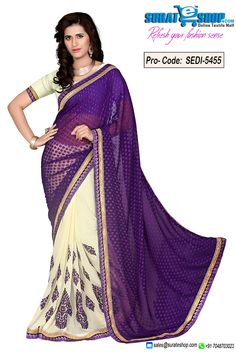 Vogue And Pattern Could Be At The Peak Of Your Splendor When You Dresses This Buttercream & Deep Purple Chiffon, Jacquard Saree. This Attire Is Showing Some Really Mesmerizing And Inventive Patterns Embroidered With Lace, Multi, Patch Work, Resham, Stones Work. Paired With A Contrast Buttercream Chiffon Blouse  Visit: http://surateshop.com/product-details.php?cid=2_26_66&pid=7746&mid=0