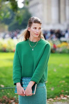 70 Life-Giving Paris Street-Style Snaps #refinery29 *inspiration...straight skirt with a boxy top & clutch