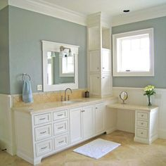 Devine Almond on the bathroom wall - a peaceful mix of blue, gray and green. #devinecolor #devinealmond #paint