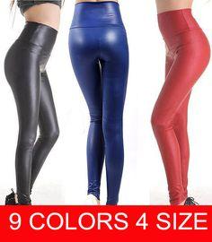Più il formato libero di trasporto 2016 di nuovo modo sexy delle donne skinny ecopelle vita alta pantaloni delle ghette xs/s/m/l/xl 17 colori