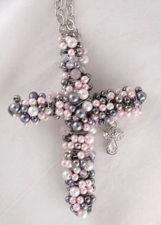 Beaded Cross wrapped with grey and pink pearl by crossesintherocks, $20.00