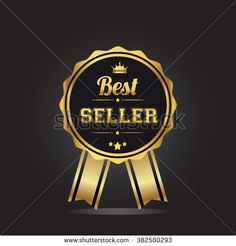 Best seller golden label, vector illustration. - stock vector