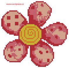 Pink flower, free cross stitch patterns and charts - www.free-cross-stitch.rucniprace.cz