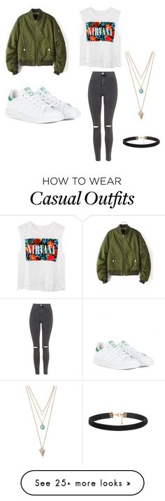 """""""Casual"""" by elima-azizmuratova on Polyvore featuring Topshop, adidas and With Love From CA"""
