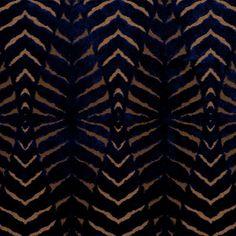 Blue Cut Velvet Upholstery Fabric - Modern Animal Tiger Fabric - Heavyweight…