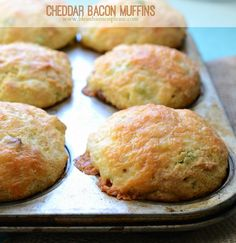 Cheddar Bacon Corn Muffins are tender savory muffins that combine three of my favorite things: cheese, bacon, and cornbread. They are amazing! My kids loved them, Husband loved them, I loved them. I s (Savory Muffin) Bacon Cornbread, Cornbread Muffins, Savory Muffins, Corn Muffins, Cheese Muffins, Muffin Tin Recipes, Bread Recipes, Cooking Recipes, Rainbow Muffins