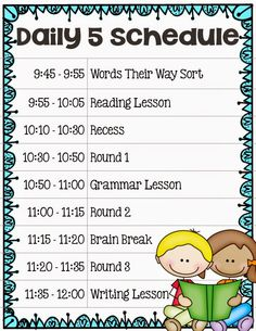 Implementing The Daily 5 In Second Grade - Our Daily Schedule