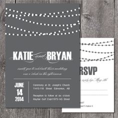 DIY Printable Wedding Invitation and RSVP. Vineyard wedding invitation. Wedding invitation with lights. Backyard wedding invitation. on Etsy, 152:07 kr