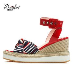 f9db94e856a3 Daitifen High Heels Sandals Women Buckle Strap Sandals Women Comfortable Wedges  Sandals Gingham Shoes Woman Platform