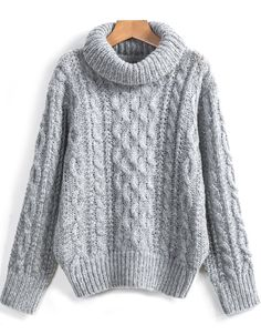 To find out about the Grey High Neck Cable Knit Loose Sweater at SHEIN, part of our latest Sweaters ready to shop online today! Knit Sweater Outfit, Loose Sweater, Fall Outfits, Fashion Outfits, White Long Sleeve, Sweater Weather, Pulls, Clothes For Sale, Cable Knit