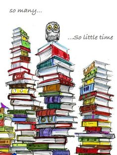 I want to try to draw this. Also the owl looks overwhelmed. BE HAPPY, Owl! YOU HAVE ALL THE BOOKS!