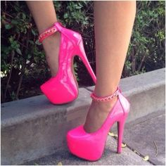 Neon Pink Platform Heels