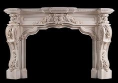 A very impressive French Rococo fireplace carved in Statuary marble. The panelled frieze and bracketed jambs delicately carved with trailing flowers and Shabby Chic Fireplace, Marble Fireplace Mantel, Brick Fireplace Makeover, Faux Fireplace, Fireplace Inserts, Marble Fireplaces, Fireplace Surrounds, Fireplace Design, Fireplace Mantels