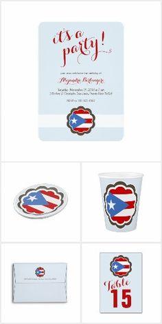 Puerto Rico Party Supplies Puerto Rican Flag Flower Party Theme for Boricua women and girls  Decoraciones, invitaciones y mas con tema de Puerto Rico y flor para mujeres, chicas y niñas