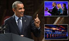 Obama takes to Broadway stage to trash GOP presidential candidates | Daily Mail Online