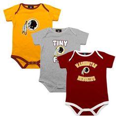 NFL Washington Redskins Infant 3-Pack Tiny Fan Creepers - Burgundy Gold Ash c6df78b9d