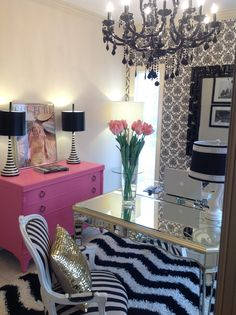 Glam office space. So perfect!! Everything that I love! Black, white, pink, damask print wallpaper, striped lamps, black crystal chandelier, pink chest of drawers, mirrored furniture, Marilyn, fresh flowers.. Amazing!!