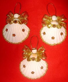 Gold Dust Sunflower 4 Sea Shell Angel Ornaments by MiscbyMichelle, $30.00