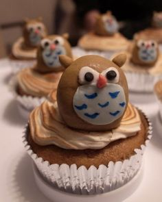 Owl Cupcakes - User cake_artist_kate created these cupcakes for a friend's birthday party. The wise-looking owls are made from fondant.