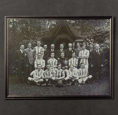 Vintage Sports Team Portrait, Striped Jersey Rugby Team