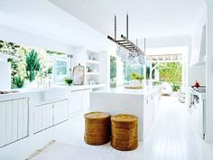 white, open kitchen