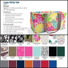 Large Utility Tote - New colors for Spring  Available 1/4/13 ~ www.mythirtyone.com/LisaSchrock