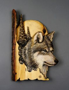 Loup Relief Sculpture by Davydovart gift in wood by DavydovArt