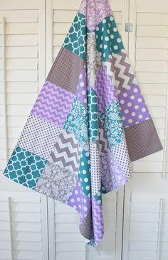 Baby Girl Blanket, Minky Blanket, Nursery Decor, Patchwork Blanket, Lavender, Purple, Plum, Teal Blue, Gray, Grey Chevron