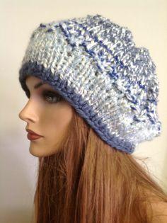 Hand Knit Hat Beret Shades Ocean Blue Designer Fahion Pearl Heart Hip Head Beani #Handmade #Beret