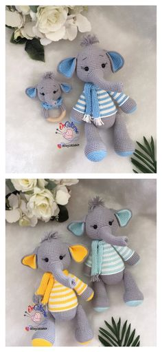 In this article I will share a wonderful amigurumi pattern again. You can enjoy this beautiful amigurumi elephant free english pattern.  Materials  Yarn Pekhorka children's novelty,  1 skein of the main color, half  skein of a different color  Hook 1.5-1.75  Filler  Long needle  Plastic joint or cotter pin  Plastic eyes d = 13mm, with  you can use  baked plastic for protein  Artificial cilia, button  1.5 mm wire for neck  no joint or cotter pin Crochet Food, Crochet Baby, Main Colors, Different Colors, Elephant Pattern, Amigurumi Toys, Crochet Animals, Free Pattern, Dinosaur Stuffed Animal