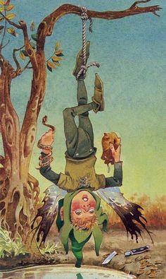 The Hanged Man - Fairy Tarot or Tarocchi dei Folletti by Antonio Lupatelli Hanged Man Tarot, The Hanged Man, Astro Tarot, Tarot Prediction, Carrousel, Tarot Major Arcana, Wolf, Tarot Card Decks, Occult