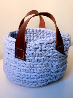T-shirt yarn basket with leather handles