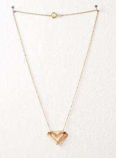 brass chevron charm necklace
