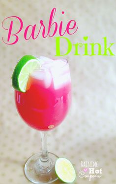 barbie drink 3 Hot Pink Barbie Drink (Alcoholic and Non Alcoholic Version!) 1 oz Malibu Coconut Rum 1 oz vodka 1 oz Cranberry juice 1 oz Orange juice 1 oz Pineapple Juice Lime #drinks #cocktails #drinkrecipes