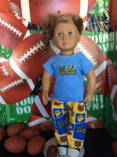 UCLA,BRUINS! 18 Inch Doll Clothes ,Handmade ,Fits All  18 Inch Dolls ,2pc College Football Outfit by BlueCowDesigns on Etsy
