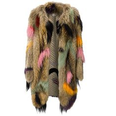Wunderkind Dip Dyed Fur Coat ($4,135) ❤ liked on Polyvore featuring outerwear, coats, jackets, fur, brown, brown coat, oversized coat, long fur coat, long brown coat and long coat
