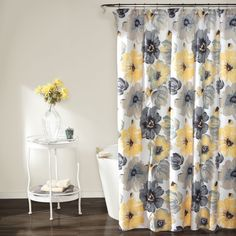 Lush Decor Leah Shower Curtain, 72 Inches X 72 Inches, Yellow/ Gray: Eye popping flowers which adds elegance yet fun to any bathroom. This floral shower curtain will compliment any room. Part of the Leah collection. Elegant Shower Curtains, Yellow Shower Curtains, Bathroom Shower Curtains, Fabric Shower Curtains, Colorful Shower Curtain, Rental Bathroom, Budget Bathroom, Bathroom Rugs, Bathroom Flowers