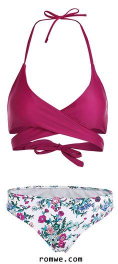 Floral Halter Wrap Knotted Back Bikini Set