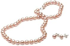 """Pink Freshwater Cultured Pearl Girl's Necklace and Earrings Set with Sterling Silver Clasp (6-6.5mm ), 15"""" Amazon Curated Collection. $38.00. Made in China"""