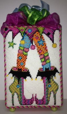 """Needlepoint """"crazy legs"""" standup - just a Happy design!"""