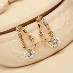 Crystal Zircon Flower Cross Plated Gold Ear Studs|Fashion Earrings - Jewelry&Accessories- ByGoods.com