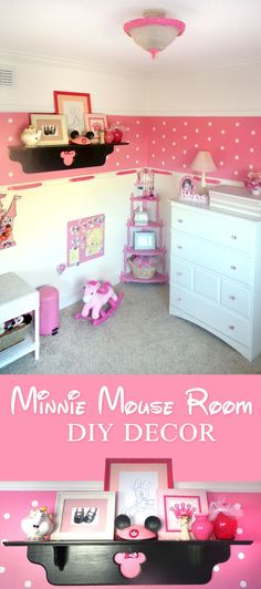 Minnie Mouse Room DIY Decor - step by step pain instructions, colors, and ways to stretch a budget to make an adorable polka dot minnie mouse toddler room for your little girl!