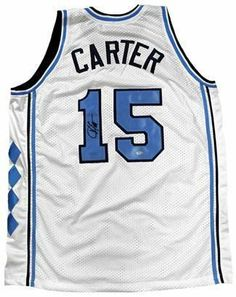 Vince Carter signed North Carolina Tar Heels White Custom Jersey- Tristar Hologram . $275.31. In 1995, Vince Carter began playing college basketball at North Carolina under Dean Smith and later, Bill Guthridge. During the 1997-1998 season, he was a member of new coach Guthridge's successful rotation with Antawn Jamison, Shammond Williams, Ed Cota, Ademola Okulaja, and Makhtar N'diaye. Vince Carter has hand autographed this North Carolina Tar Heels White Custom Jersey...