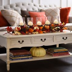 Take your fall decor to new heights with our Pumpkin Mix Centerpiece. E… Sponsored Sponsored Take your fall decor to new heights with our Pumpkin Mix Centerpiece. Enjoy warmth from both the candles and the fall colors. Thanksgiving Decorations, Seasonal Decor, Holiday Decor, Diy Thanksgiving, Harvest Decorations, Fall Home Decor, Autumn Home, Fall Apartment Decor, Fall Mantle Decor