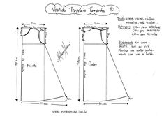 Esquema de molde de Vestido Trapézio tamanho of FREE drafted patterns. Sizes can be altered by grading. Baby Dress Patterns, Doll Clothes Patterns, Sewing Patterns Free, Sewing Clothes, Clothing Patterns, Diy Clothes, Free Pattern, Pattern Dress, Sewing School